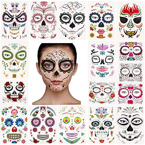 17 sheets day of the dead tatuaggi temporanei di halloween tatuaggio teschio tatuaggio maschera di rose rosse per halloween party favore