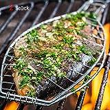 Y&J Extra Long (Größe 59 x 14 x 3) Fischgriller Sets(2 er Set)Rustler Grillroste/Grillwender Fisch in silber (verchromtes Metall ) Mit hitzebeständig Holzgriff perfekt für BBQ Party geeignet zum Grillen von ganzen Fischen (2 Sets Value Pack 59 x 14 x 3 )