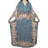 Boho Chic Ladies Kaftan Dress Maxi Kimono Beach Coverup Evening Caftan Dresses One Size (Blue)