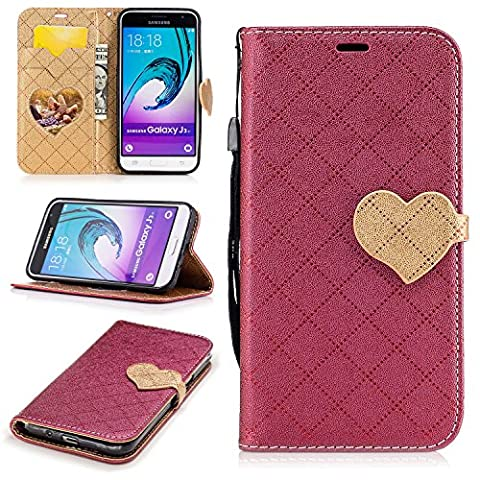 Samsung Galaxy J3 (2016) SM- J310F Wallet Case,Samsung Galaxy J3 (2016) SM- J310F Leather Case,Cozy Hut Love heart pattern Book Wallet PU Leather Flip Case Magnetic Closure [Drop Protection/Shock Absorption] Silicone Back Holder Cover with Card Slots & Stand & Wrist Strap For Samsung Galaxy J3 (2016) SM- J310F - Red love