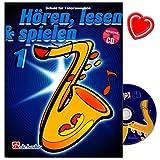 Hören, Lesen a Spielen Band 1 - Schule für Tenorsaxophon von Jaap Kastelein, Michiel Oldenkamp mit CD und bunter herzförmiger Notenklammer -