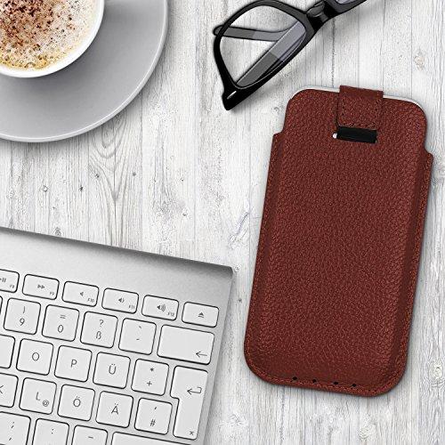 Urcover® Universal Schutzhülle in Rot Pull Tab 5,5 Zoll Schale Etui Cover Case Smartphone Zubehör Dunkel Braun