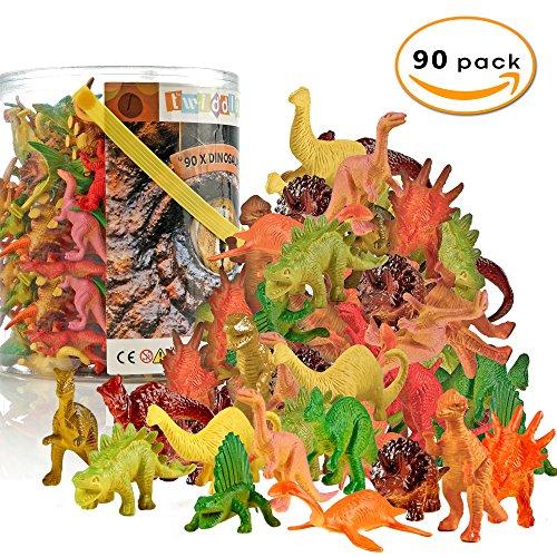 (90x Dinosaurier Spielzeug Figuren Set für Kinder aus Plastik – Mini Dino Jurassic Spielfiguren Dinosaurierset, Plastikdinosaurier & Minidinosaurier – ideal als Partyzubehör für Kindergeburtstag)