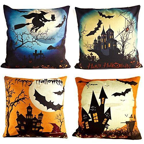 y Halloween Leinen Kissenbezug mit Spinne / Mond / Bat / Kürbis / Skeleton Schädel für Halloween Party Favors Liefert ()