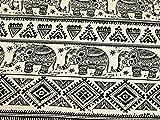 Raj Stripe Print Baumwolle & Leinen Canvas Stoff beige–Meterware