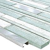 Mosaikfliesen Panorama Glas Aluminium Mix Silber Weiss
