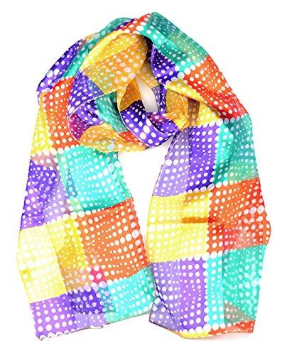 Foulard versatile en mousseline à motifs artistiques abstraits. Produit offert par NYfashion101 4313 PU/OR