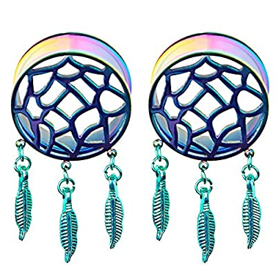1Pair Rainbow Retro Dream Catcher Feathers Dangle Ear Plug Flesh Tunnel Expander