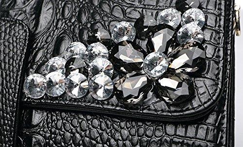 Mode Handtaschen, Handtaschen, weibliches Leder große Kapazität europäischen und amerikanischen Diamant-Dinner-Paket, Leder Ordner Tasche ( Farbe : Silber ) Gold