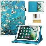 Dteck - Funda Universal para Samsung Galaxy Tablet, Apple iPad Mini, iPad 9.7, Amazon Kindle, Google Nexus y Más Tablets DE 6,5 a 10,5 Pulgadas 01 Blue Blossom For 9.5-10.5 Inch Tablet