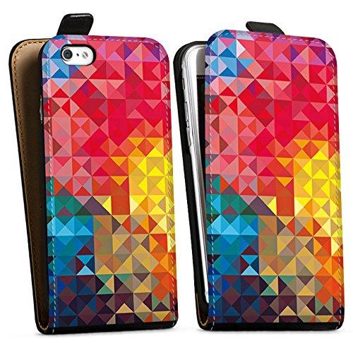 Apple iPhone X Silikon Hülle Case Schutzhülle Bunt Muster struktur Downflip Tasche schwarz