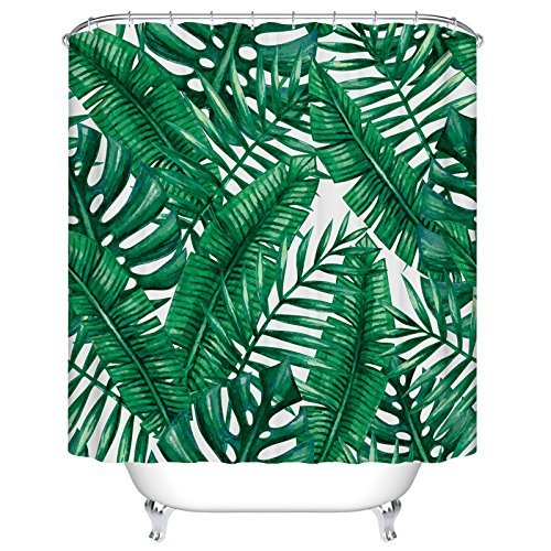 Tropical Palm Leaves Duschvorhang Custom Digital Print Polyester Stoff Duschvorhang 183 x 183 cm