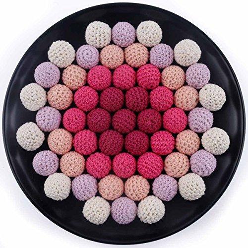 baby tete Bébé Crochet Jouet Bricolage Rond en Bois de Dentition Bracelet Collier de Soins Infirmiers 20mm/50pcs Perles de Coton Série Rose