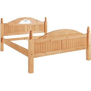 Hervorragend Landhaus Bett Massivholzbett Bett Schlafzimmerbett MIGUEL 140cm, Kiefer  Massiv Hell Gebeizt Geölt