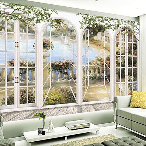 Sucsaistat Wallpaper Mural 3D Stereo Fensteransicht Garten Pool Fototapete Wohnzimmer Bettwäsche Zimmer Landschaft Wanddekoration geprägte Papiertapete, 400 * 280cm