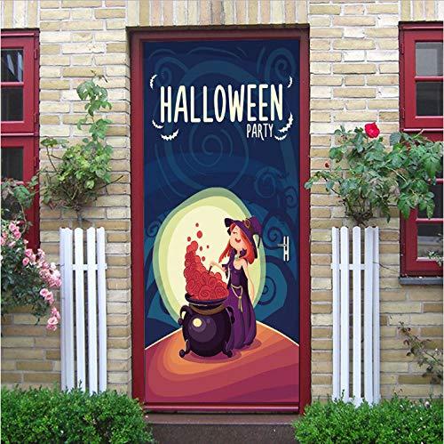 YS753 Self Adhesive Witch's Brew Halloween Theme Poster On Door Vinyl Waterproof Door Stickers Home Decor Mural DIY Door Renew Decals 77X200Cm