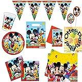 Mickey Mouse Clubhouse Party-Set 90tlg. für 12 Kinder Teller Becher Serviette Wimpel Tischdecke Tüte Einladung Trinkhalme