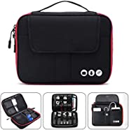 Acoki 2 Layers Travel Electronic Accessories Organizer Bag,Waterproof Travel Gadget Carry Bag, Perfect Size Fit for iPad,cables,chargers,hard drive,power bank-Black