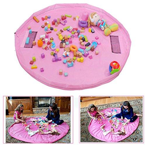 TBoonor Kinder Aufräumsack Spieldecke Spielzeug Speicher Tasche Aufbewahrung Beutel Spielzeugaufbewahrung XL (Rosa) -