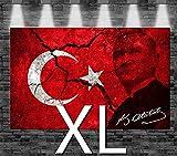 Premium Kunstdruck Leinwandbild - Türkei Atatürk Flagge auf Leinwand - aufgespannt auf 2cm Keilrahmen, aus deutscher Herstellung, 80x50cm, Größe XL