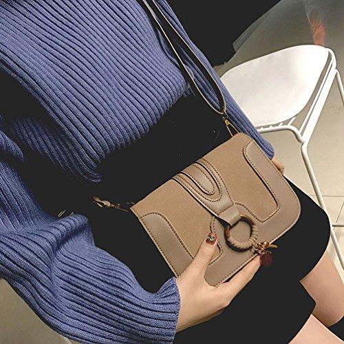 BZLine® Frauen Patchwork Runde Haspe Handtasche Crossbody Umhängetaschen Khaki