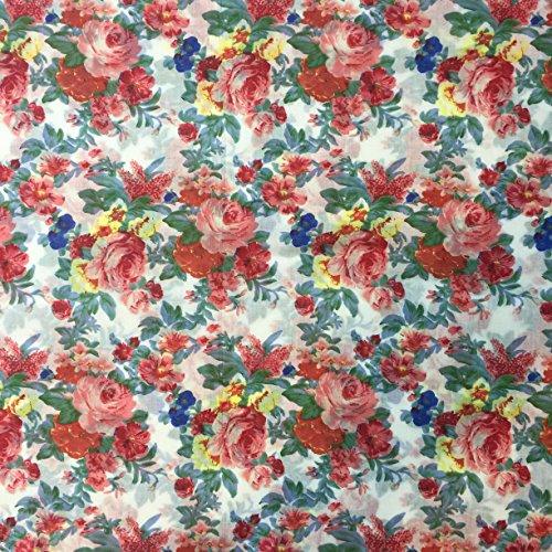 Ditsy Floral Print 1526/554creme 100% Baumwolle Linon Sommer Kleid Stoff 147,3cm breit, Meterware, -