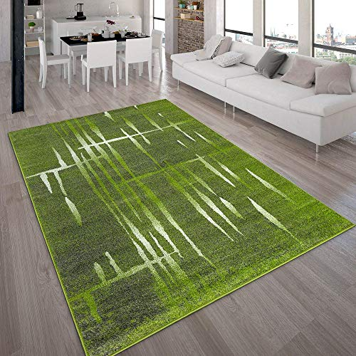 Paco Home Designer Teppich Modern Trendiger Kurzflor Teppich Meliert in Grün Weiß, Grösse:160x220 cm (Grün-teppich-sets, Wohnzimmer)