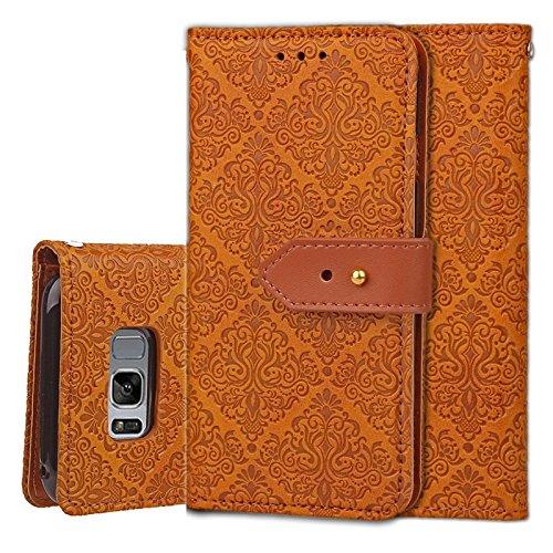 YHUISEN Galaxy S8 Case, Magnetverschluss European Style Wandgemälde prägeartig PU Leder Flip Wallet Case mit Stand und Card Slot für Samsung Galaxy S8 ( Color : Rose Gold ) Khaki