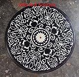"""24""""Diámetro de mármol negro madre de perla piedra Patio diseño de incrustaciones de tablero de la mesa lateral"""