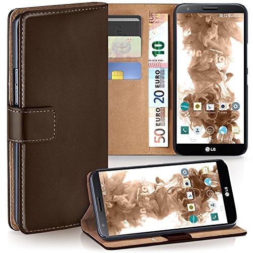 moex LG G2   Hülle Dunkel-Braun mit Karten-Fach 360° Book Klapp-Hülle Handytasche Kunst-Leder Handyhülle für LG G2 Case Flip Cover Schutzhülle Tasche