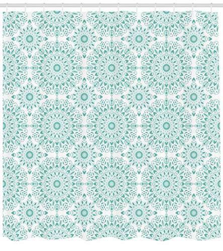 ABAKUHAUS Orientale Tenda da Doccia, Mandala Etnica Immagine Orientale con Ivy Swirl Pizzo Come Art Dettagliata, Idrorepellente Resiliente Opaco, 175 x 180 cm, Aqua e Bianco