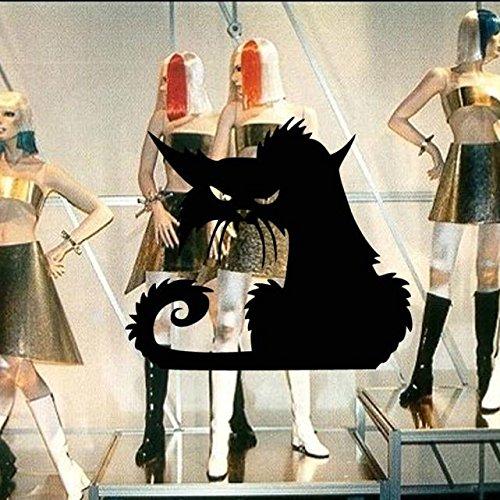 Halloween Cat Wandaufkleber Wandtattoo Drache Wanddeko Cat Aufkleber Wandsticker Aufkleber Party Dekoration DIY Home Deko Halloween Cat Stickers Wandaufkleber Cat Wandtattoos (Schwarz) -