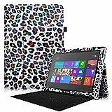 Fintie Microsoft Surface Pro 3 Hülle Case - Hochwertige Kunstleder Slim Fit Stand Tasche Schutzhülle Etui Cover mit Stylus-Halterung für Microsoft Surface Pro 3 12 Zoll Tablet, Leopard Regenbogen