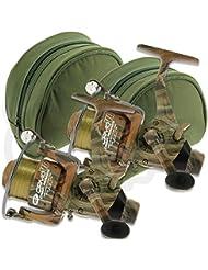 2x NGT Camo40Carpe gratuit chemin de 3bb Moulinet de pêche avec ligne 5,4kilogram + Bobine de rechange + Cases