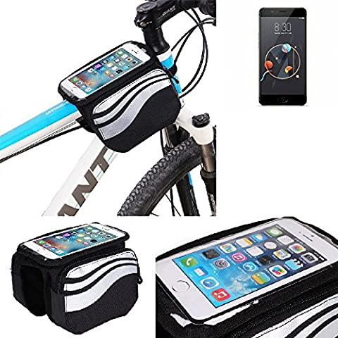 For Nubia M2: Cycling Frame Bag, Head Tube Bag, Front Top Tube Frame Pannier Double Bag Pouch Holder Crossbar Bag, black-silver water resistant -