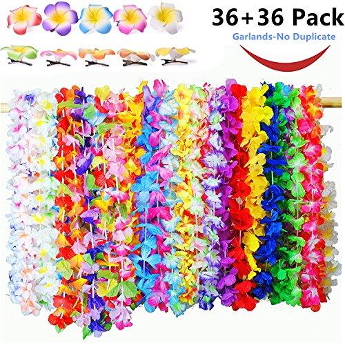 7ab8b13e3e93 MIMIEYES Tropical Hawaiian Luau Collar de Flores Collares de Colores  Guirnaldas de Verano con Hawaiian Flor Pinzas para el Cabello de Espuma  para Playa Tema ...