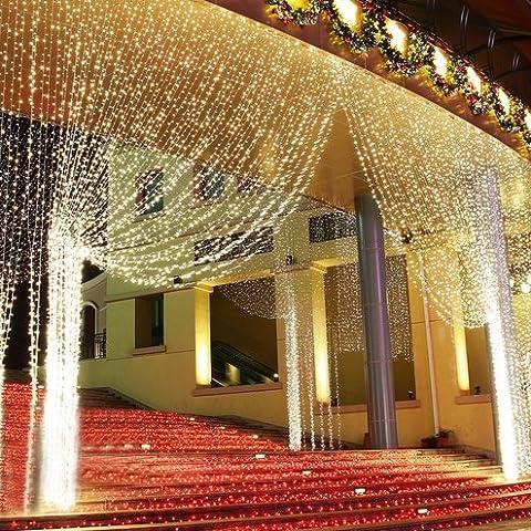 IVSO 3m x 3m 300 LED Lichterkette Vorhang Wasserdichtes Licht Schnur Eiszapfen Eisregen für Outdoor Party, Haus Dekoration, Hochzeit, Weihnachten, Feier Festakt und so weiter (Warmweiß)
