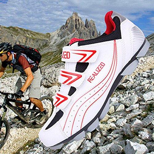 Radfahren Fahrrad MTB-Schuh-Sport-Turnschuh-Racing-Schuhe wei_ Rot