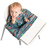 Weaning Bib - BIBaDO (Navy) - The Award Winning Coverall Smock, Attaches to Your highchair, Ideal for BLW Mess, Long Sleeves,