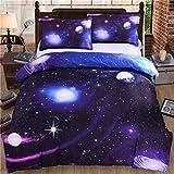 Parure de Lit pour Enfant 3D Galaxy Univers Ciel étoilé Étoiles Lunaire Licorne...