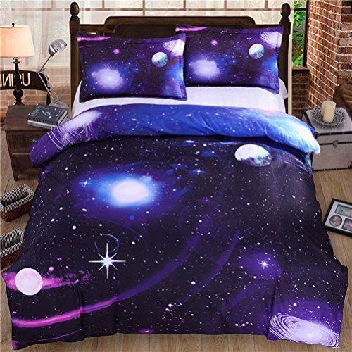 Bettbezug Set 3D Galaxy Sternenhimmel Universum Mond Einhorn Duvet Quilt Und Kissenbezug Einzelbett 135x200cm für Kinder, Jungen, Mädchen Bettwäsche-Set (Lila Stern, 135 x 200 cm) (Bettwäsche-daunendecke-abdeckung)