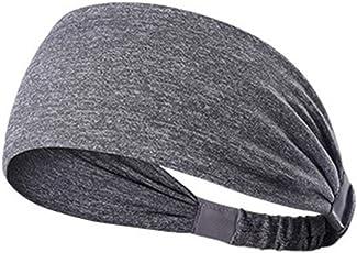 Elastic Wicking Non Slip Headband Lightweight Multi Style Bandana Hairband Headscarf for Sport Yoga Running Travel Fitness fits all Men Women (Light Grey)