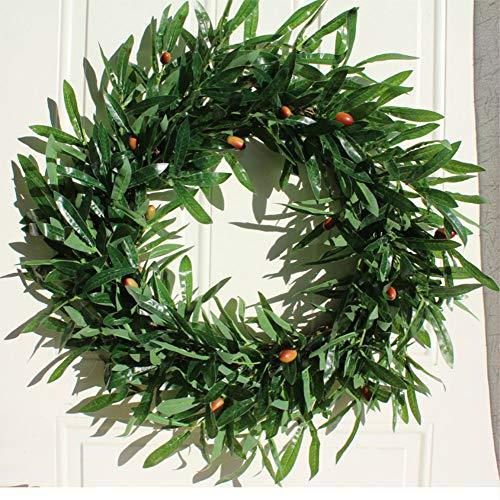 Luckyzc Simulation Blume Amerikanische Broschüre Olivenkranz Künstlicher Kranz 56cm Türdekoration Ornamente