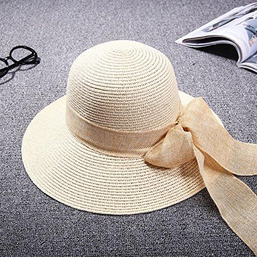 iShine Chapeau de Soleil pour Femme Fille par Paille Doux avec Nœud Papillon Visière Large Capeline Bonnet Ruban Respirant Frais Anti-UV Eté Pêche Plage Ivoire