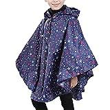 Yaodgfa Regenmantel Kinder Regenponcho Unisex mit Kapuze Wasserdicht Regencape für Jungen Mädchen- Gr. Höhe:125-150cm, Dunkle Blau