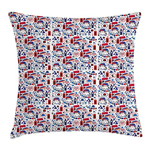 ERCGY London Throw Pillow Cushion Cover, Pattern with London Symbols Queen Elizabeth Umbrella Tea Party Map Travel Theme, Decorative Square Accent Pillow Case, 18 X 18 inches, Multicolor