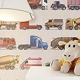 NEWROOM Kindertapete Braun Papiertapete Bunt Kinder Auto schöne moderne und edle Optik für Babys, Jungs oder Mädchen, inklusive Tapezier Ratgeber Kindertapete Braun Feuerwehr LKW Kinder
