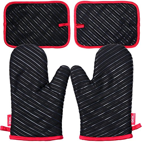 DEIK Oven Mitts and Potholders(2 Pairs), Heat Resistant Kitchen Oven Gloves with 100% Cotton Lining, Non-Slip Silicone Potholder for Cooking, Baking, Grilling and Holding Pot, Black