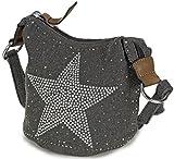 L&S Collection Stern Handtaschen Damen - kleine Umhängetasche - Mini Stern Tasche aus Canvas Grau Schwarz