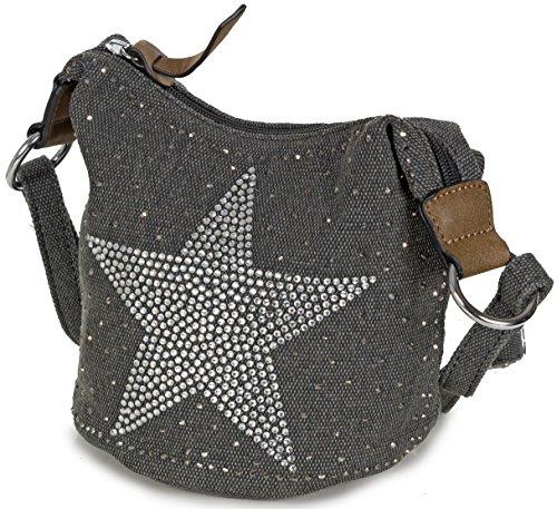 L&S Collection Stern Handtaschen Damen - kleine Umhängetasche - Mini Stern Tasche aus Canvas Dunkelgrau Schwarz (Stoff Handtasche)